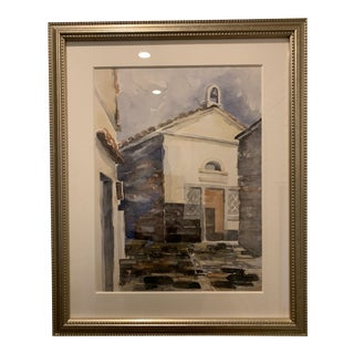 Italian Country Church Framed Watercolor Painting For Sale