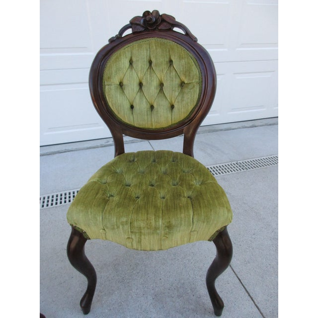 Kimball Furniture Victorian Style Tufted Parlor Chairs - A Pair For Sale -  Image 5 of - Kimball Furniture Victorian Style Tufted Parlor Chairs - A Pair