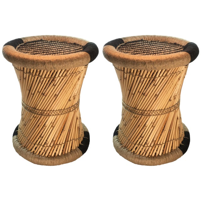 Natural Geo Boho Black Accent Stools - A Pair For Sale