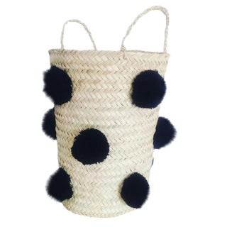 Moroccan Black Pompom Basket For Sale