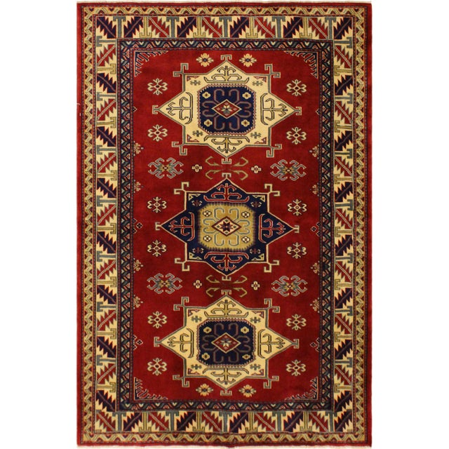 Brown Sherwan James Red/Ivory Wool Rug - 4'1 X 5'10 For Sale - Image 8 of 8