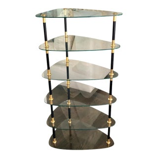 Maison Jansen Black & Gold Etagere Whatnot Table For Sale
