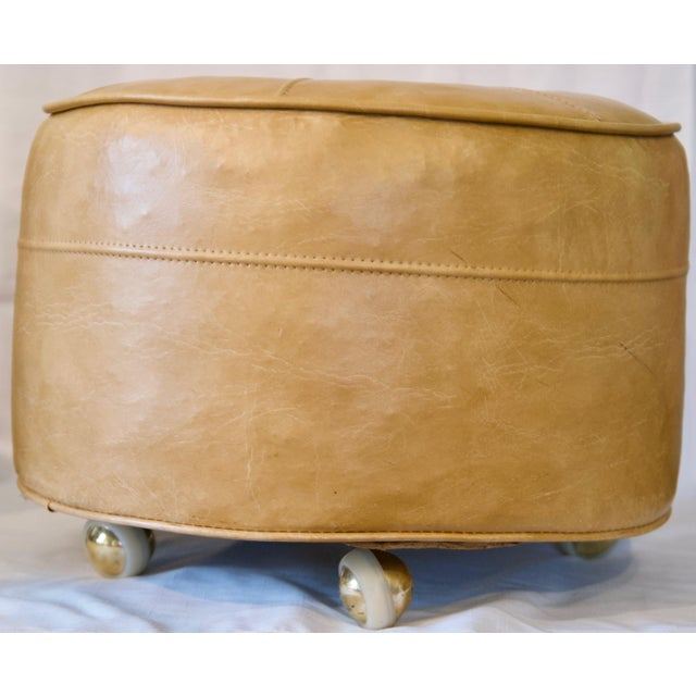 1970s Leather Moroccan-Style Pouf Ottoman For Sale - Image 4 of 13