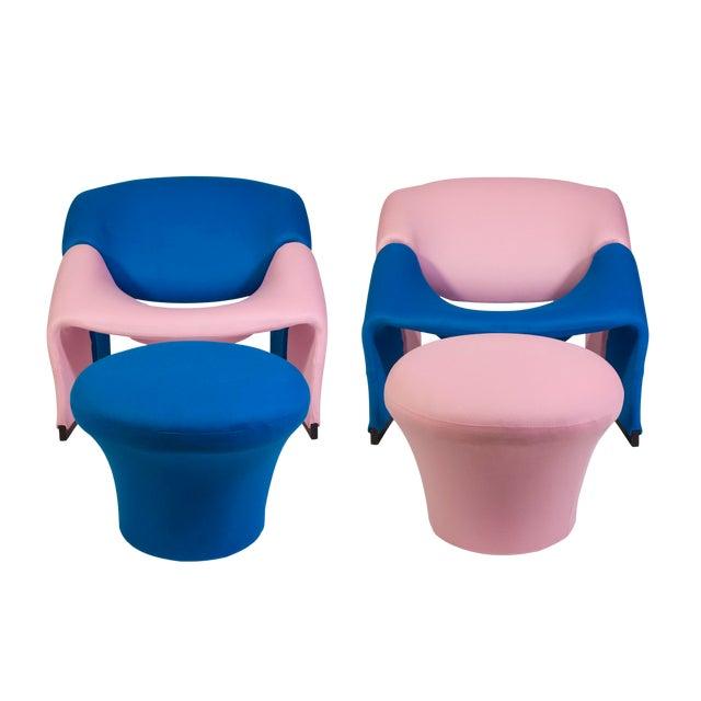 Pierre Paulin Oscar De La Renta Cashmere Upholstered Chairs & Ottomans- 4 Pieces - Image 1 of 10