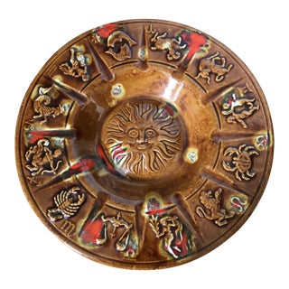 Vintage Zodiac Pottery Ash Receiver Dish Catchall For Sale