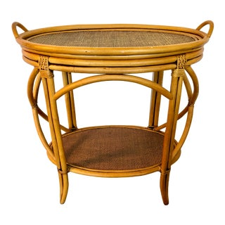 Bamboo & Rattan Table With a Tray For Sale
