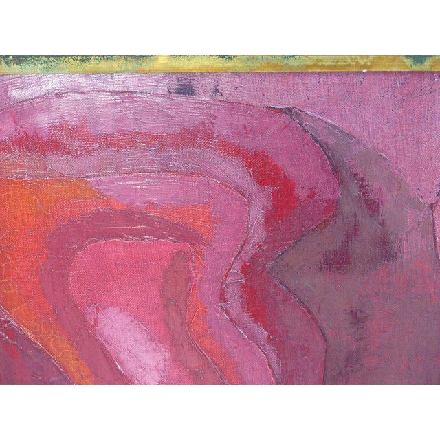 """Giltwood Abstract Oil Painting """"Madrid 1961"""" by Important Spanish Artist Luis Quintanilla For Sale - Image 7 of 10"""
