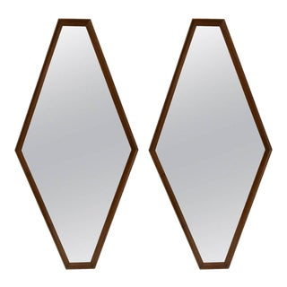Pair of Walnut Diamond Mirrors
