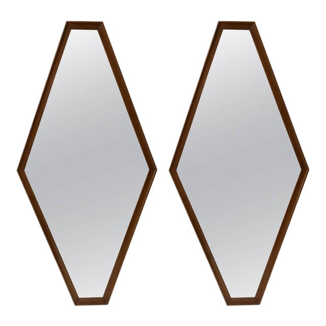 Pair of Walnut Diamond Mirrors For Sale