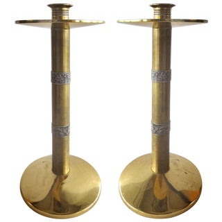 Brass with Silver Banding Candle-Holders - Pair For Sale