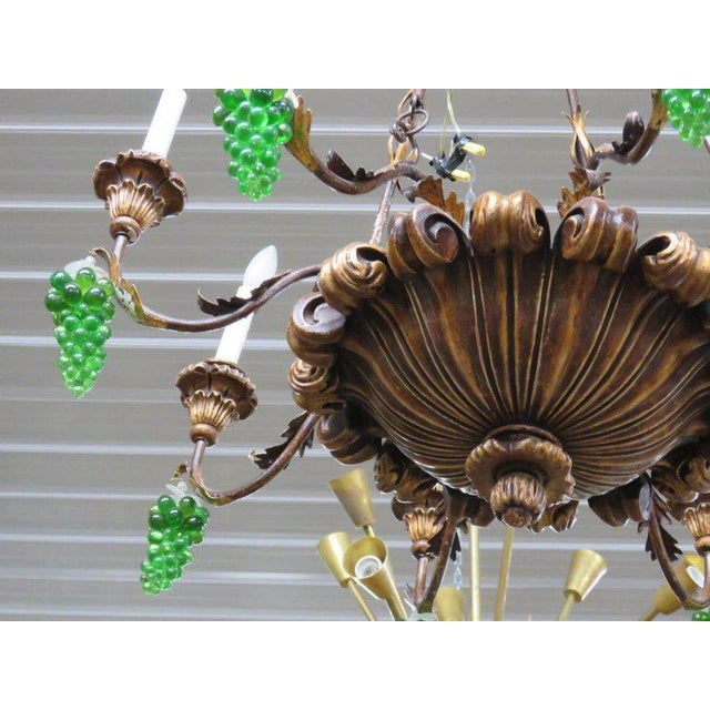 Metal Italian Tole and Crystal Chandelier For Sale - Image 7 of 8