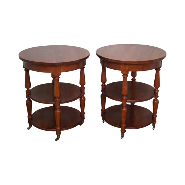 Harden Solid Cherry Three Tier Side Tables - Pair - Image 1 of 10