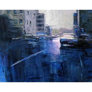 "Beckham Contemporary Framed New York City Scene ""Blue Study"" For Sale"