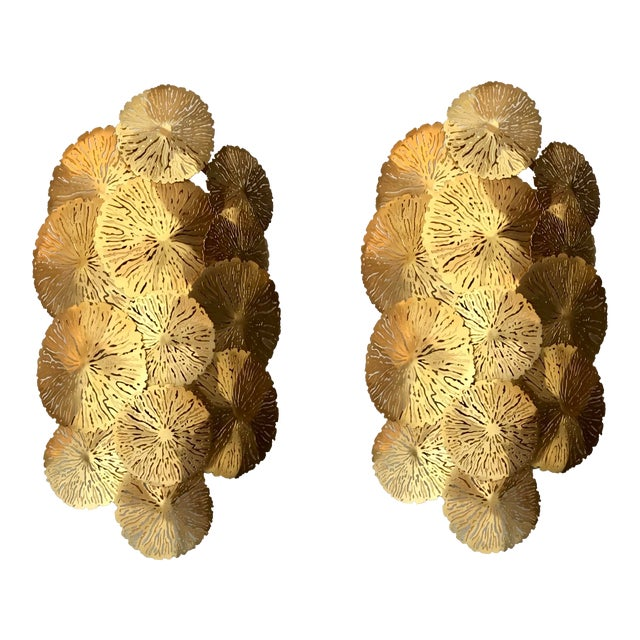 Showroom Studio a Home Modern Brass Lily Pad Sconces Pair - a Pair For Sale