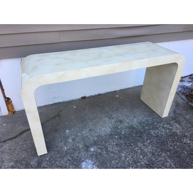 Contemporary 1980s Contemporary Goat Skin Waterfall Console Table For Sale - Image 3 of 11