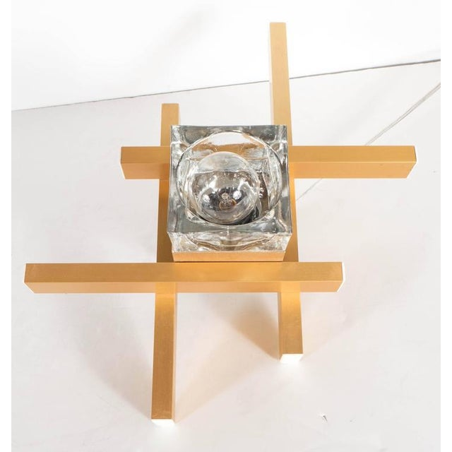 1970s Mid-Century Modernist Flush Mount Brass and Cubed Glass Fixture by Sciolari For Sale - Image 5 of 9