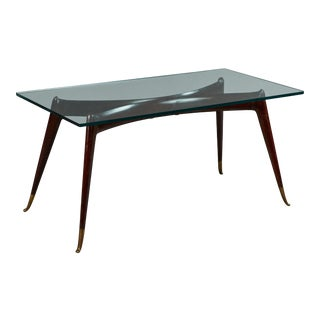 Sculptural Rosewood Coffee Table With Brass Sabots in the Manner of Ico Parisi For Sale