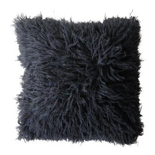 Erica Tanov Alpaca Shag Pillow in Charcoal For Sale