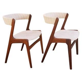 Kai Kristiansen Danish Modern Teak Dining Chairs, a Pair For Sale