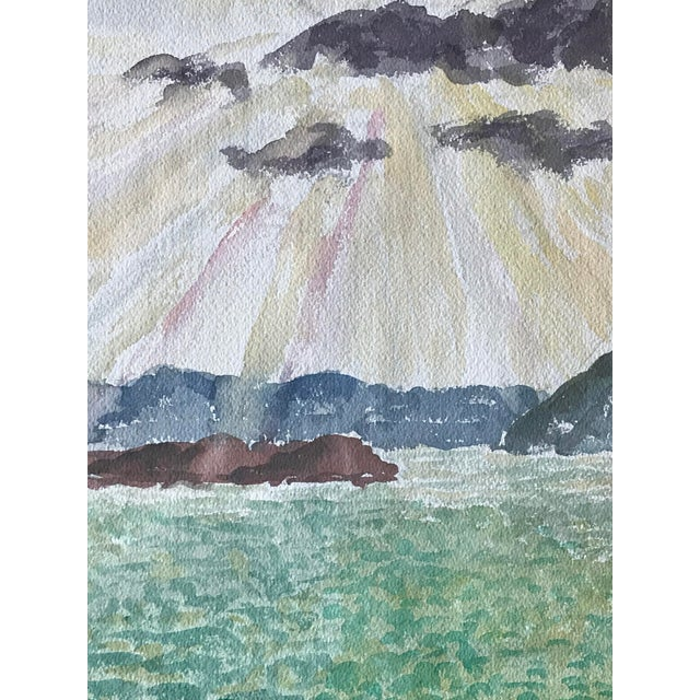 Arts & Crafts Passing Storm Over the Bay California Landscape Painting For Sale - Image 3 of 6