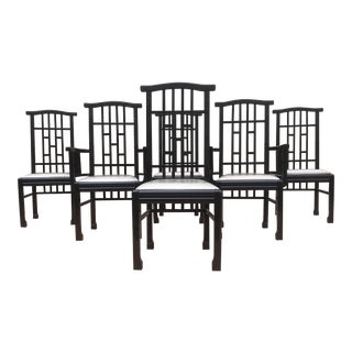 Charles Rennie Mackintosh Style Black Lacquer Asian Flare Chinese Chippendale Fretwork - Set of 6 Dining Chairs For Sale