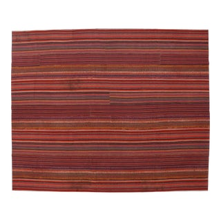 "Contemporary Boho Style Vintage Turkish Striped Kilim Area Rug - 11'08"" X 14'03"" For Sale"