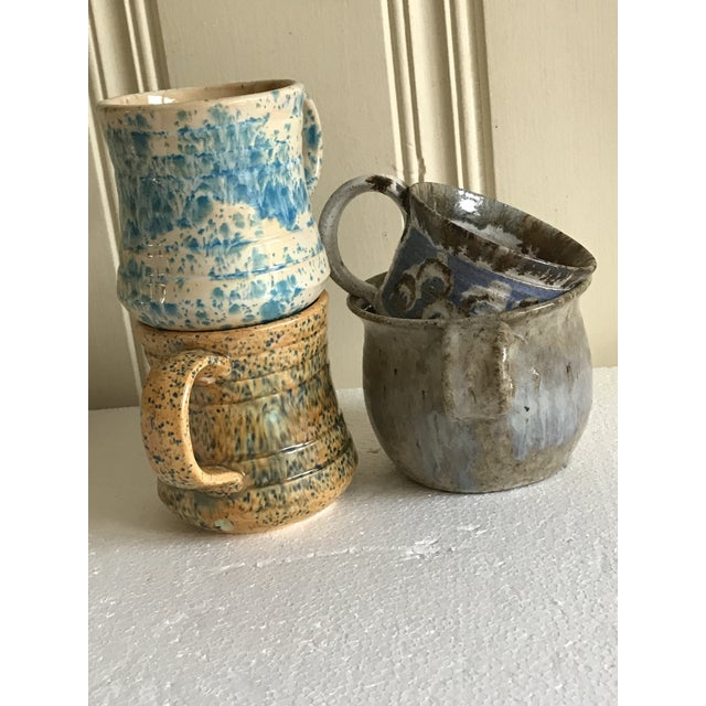 Arts & Crafts Vintage Boho Handmade Pottery Cups - Set of 4 For Sale - Image 3 of 10