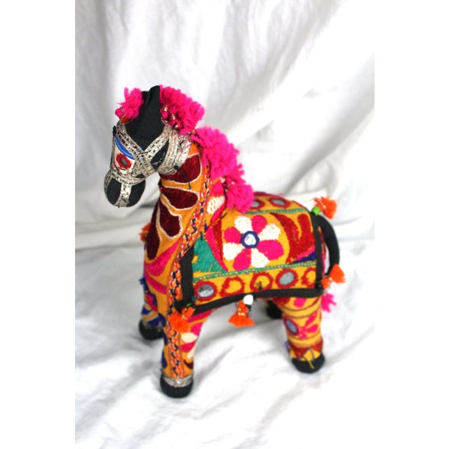 Children's 1950s Boho Chic Pink Accent Rajasthani Horse For Sale - Image 3 of 6
