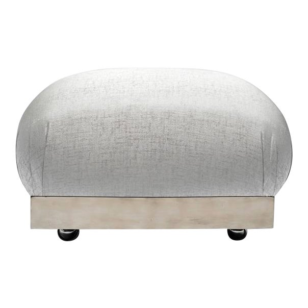 Hollywood Regency Oversized Ottoman or Pouf With Soufflé Design For Sale - Image 9 of 9
