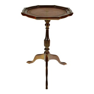 Vintage Pie Crust Inlaid Leather Table Top Candle Stand For Sale
