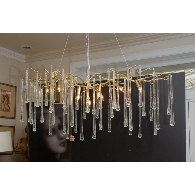 Gilt Metal Chandelier With Crystal Drops For Sale - Image 10 of 10