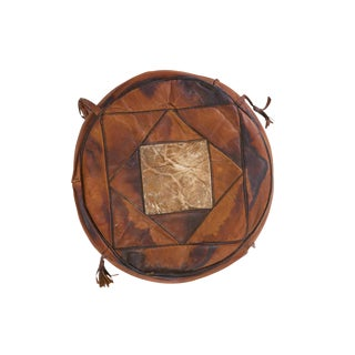 Small Vintage Leather Pouf For Sale