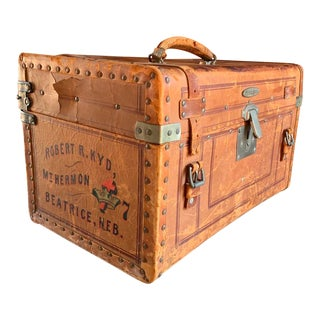 Traveling Preacher Leather Suitcase, Circa 1910 For Sale