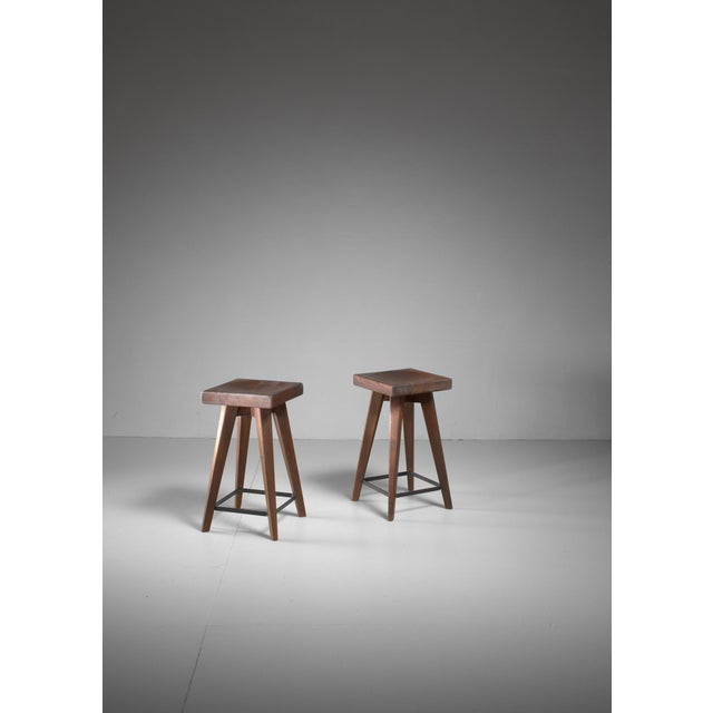 1950s Pair of Christian Durupt stools from Meribel, France, 1950s For Sale - Image 5 of 5