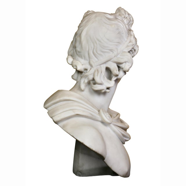 Marble Italian White Marble Bust of Apollo Belvedere With Bauhaus Design Pedestal Base For Sale - Image 7 of 9