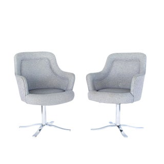 Mid Century Modern Nicos Zographos Style Bucket Easy Chairs- A Pair For Sale