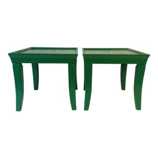 Glossy End Tables - a Pair End Tables Nightstands Mid-Century Furniture Modern Furniture Boho Loft Green Accent Table