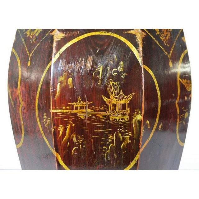 Black Hand-Painted Grain Storage Barrel With Medallions From, China, 19th Century For Sale - Image 8 of 11