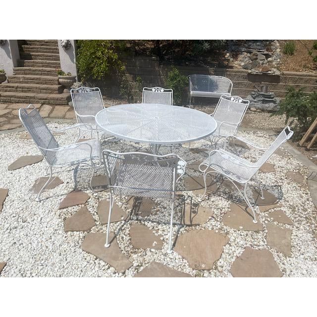 Vintage Mid century patio set by Russel Woodard, Made of Wrought Iron, Round Table and 6 Armchairs, Salterini Collection...