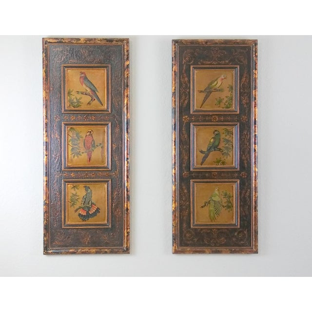 Castilian Imports Tropical Birds Wood Wall Plaque Panels - A Pair For Sale - Image 10 of 10