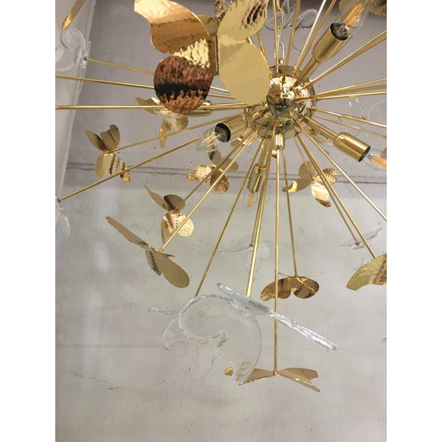 Hollywood Regency Italian Hand Made Gold 24k Butterfly Sputnik Chandelier For Sale - Image 3 of 13