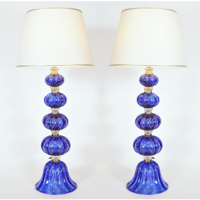 Cobalt Blue With Gold Flecks Murano Glass Table Lamps - a Pair For Sale - Image 9 of 10