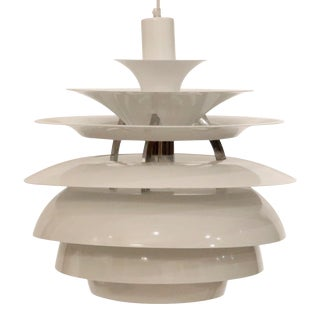 Mid-Century Italian White Metal Chandelier For Sale