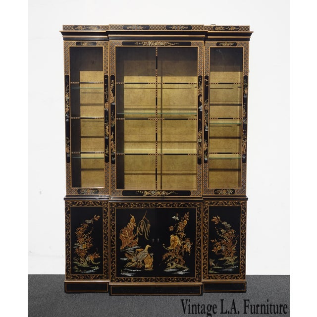 Vintage Drexel Oriental Asian Chippendale Chinoiserie Black China Cabinet Hutch For Sale - Image 13 of 13