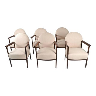 Circa 1930s Belgian Dining Chairs in Zebra Wood - Set of 6 For Sale