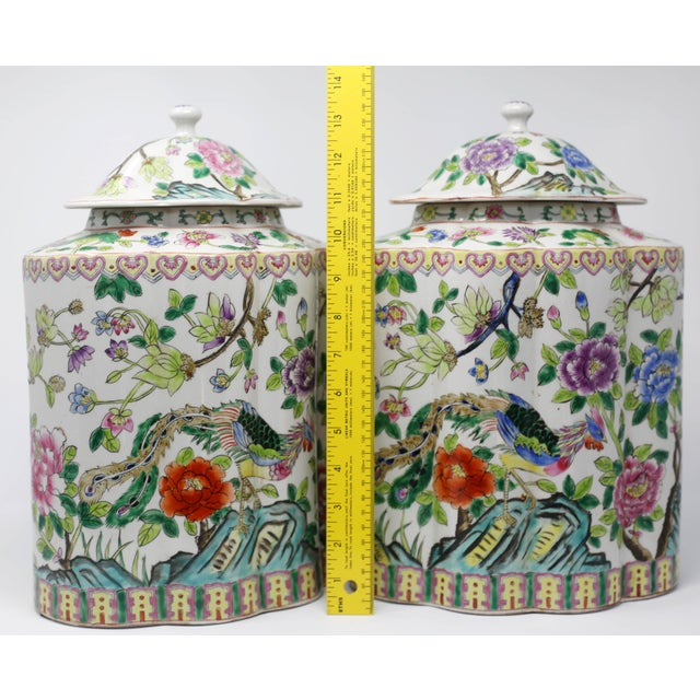 Vintage Hand-Painted Scalloped Ginger Jars With Peacocks and Flowers - a Pair For Sale - Image 9 of 11