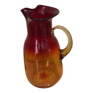 1980s Mid-Century Modern Blenko Red Glass Pitcher For Sale