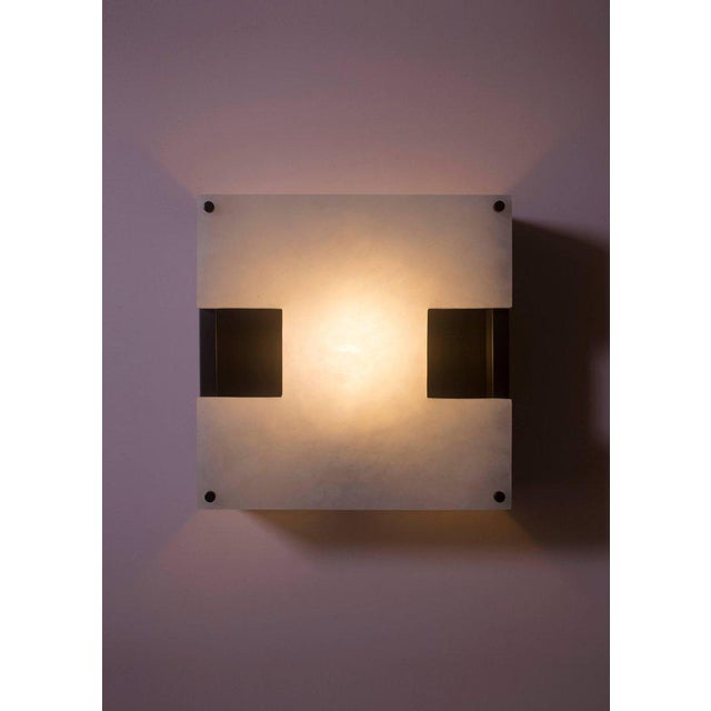 Modern Contemporary 002a Sconce in Alabaster and Blackened Brass by Orphan Work For Sale In New York - Image 6 of 6