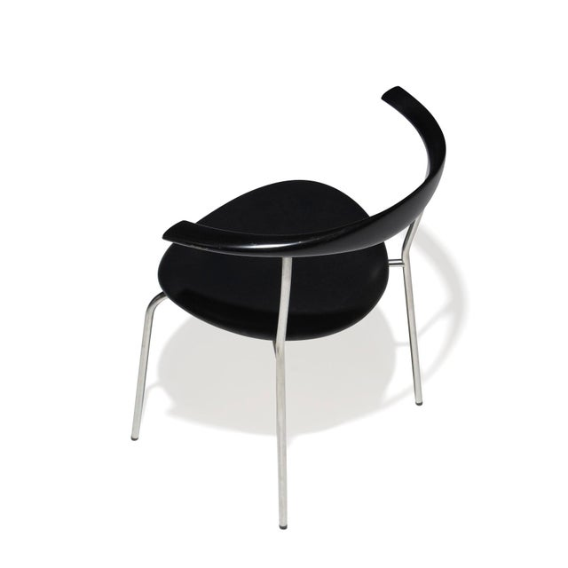 Black Set of 4 Hans Wegner PP701 Bull Horn Dining Chairs in Black Lacquer, Leather and Steel For Sale - Image 8 of 13