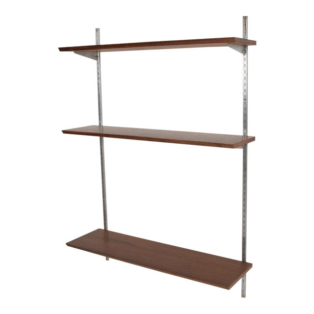 Mid-Century Modern Eames Era Walnut & Aluminum Bookcase Shelving Wall Unit For Sale